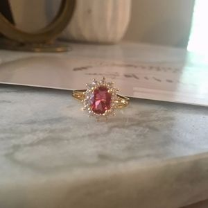 18K Gold Plated Cranberry C.Z FLOWER Ring